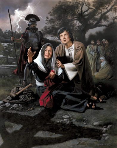 Mother Mary under the cross